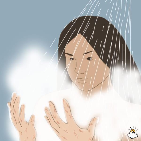 không tắm bằng nước quá nóng