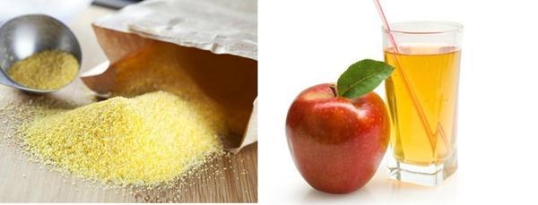 Ngừa dầu bằng bột ngô + nước ép táo
