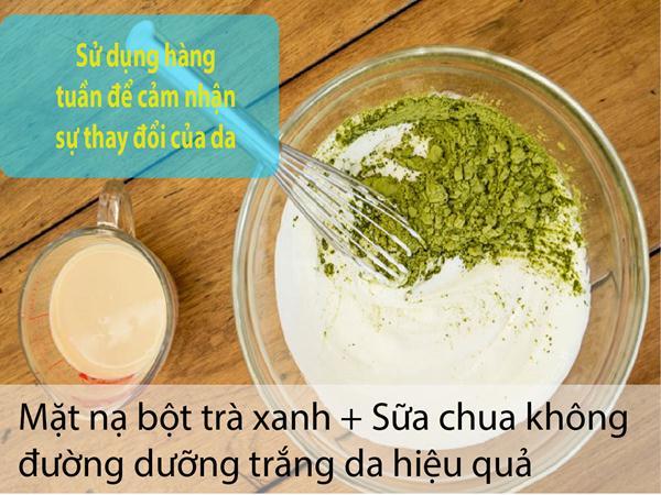 Bột trà xanh và sữa chua không đường