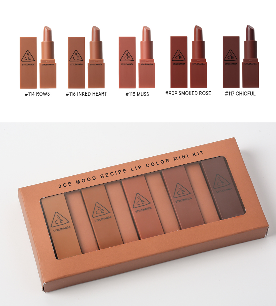 Set mini son 3CE Mood Recipe Lip Color