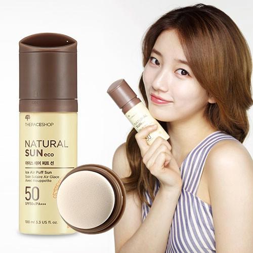 Xit chong nang The Face Shop Natural Sun Eco Ice Air Puff Sun SPF 50 (2)
